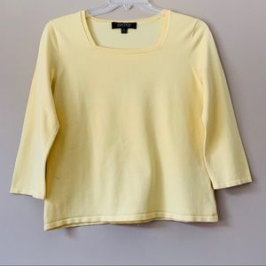 Kasper Square Neck 3/4 Sleeve Knit Top L